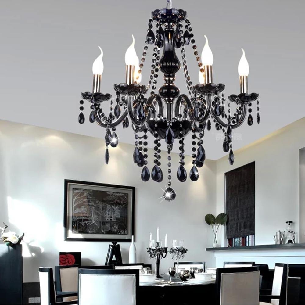 Preferred Black Modern Crystal Chandelier E14 Candle Holder Novelty Classic For Modern Black Chandelier (View 17 of 20)