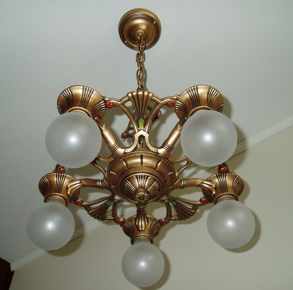 Preferred Cast Iron Antique Chandelier Intended For 1930s Vintage Gold Art Deco Cast Iron Metal Ceiling Light Fixture (View 17 of 20)