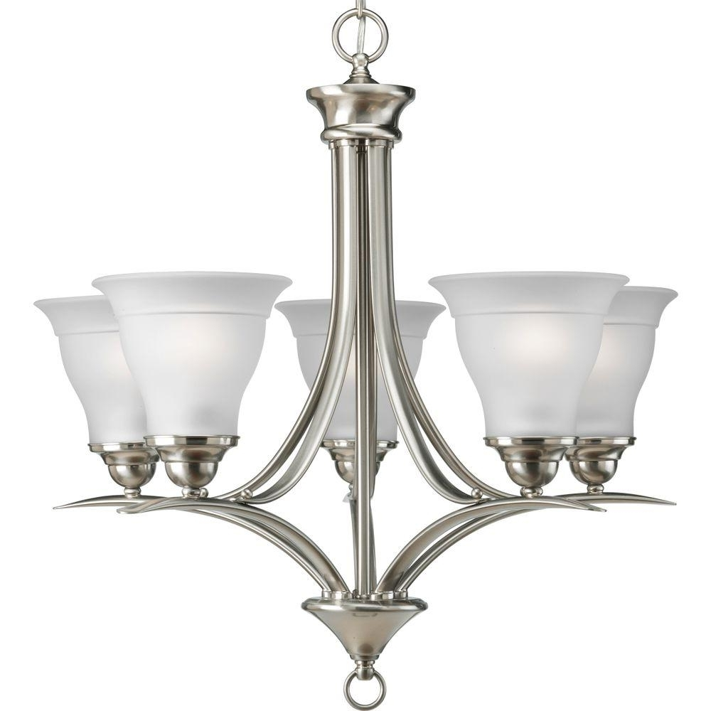 Preferred Chandelier Lights Inside Progress Lighting Trinity Collection 5 Light Brushed Nickel (View 8 of 20)