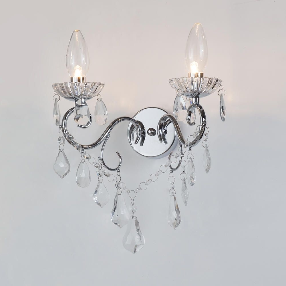 Preferred Chandelier Wall Lights Throughout Vara Bathroom Wall Light – 2 Light – Chrome From Litecraft (View 2 of 20)
