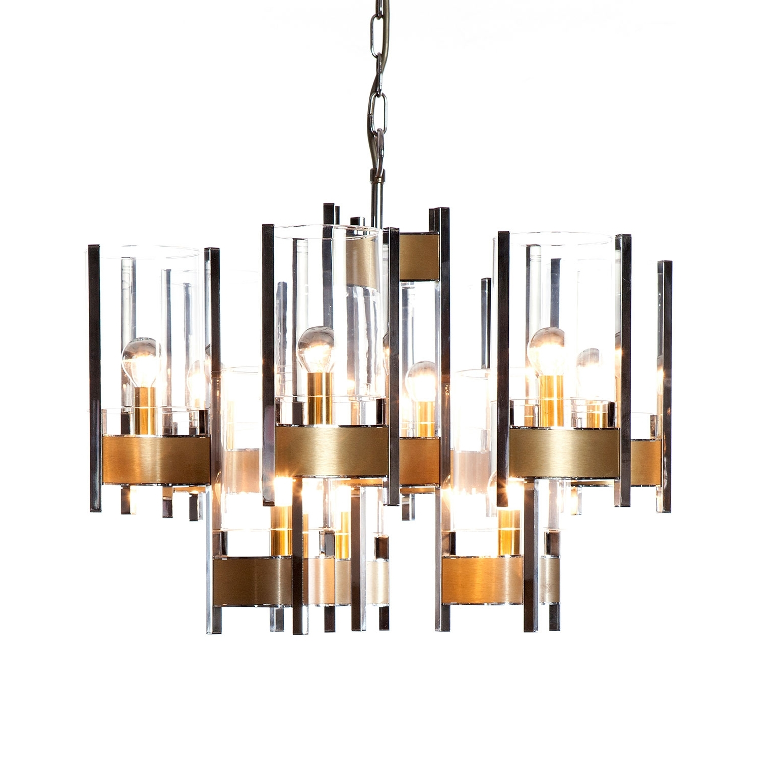 Preferred Chrome And Glass Chandelier Regarding 1960's 9 Light Chrome And Glass Chandeliergaetano Sciolari (View 16 of 20)