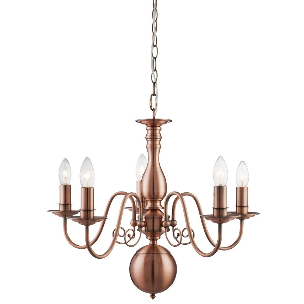 Preferred Copper Chandeliers Throughout Natalie 5 Light Ceiling Light Copper (View 13 of 20)