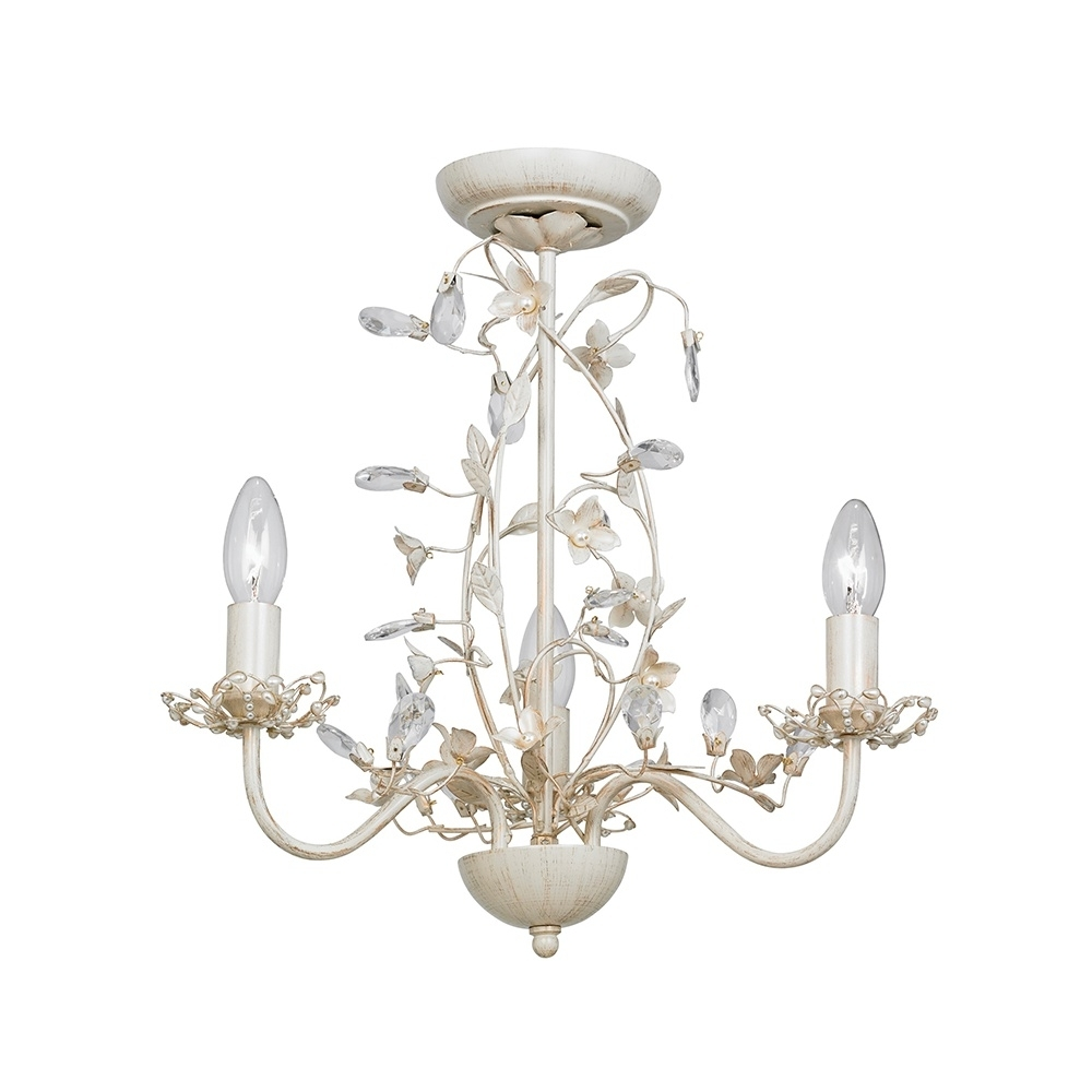 Preferred Cream Chandelier Lights Inside Endon Lullaby 3Cr Lullaby Cream Gold 3 Light Flush Ceiling Light (View 15 of 20)