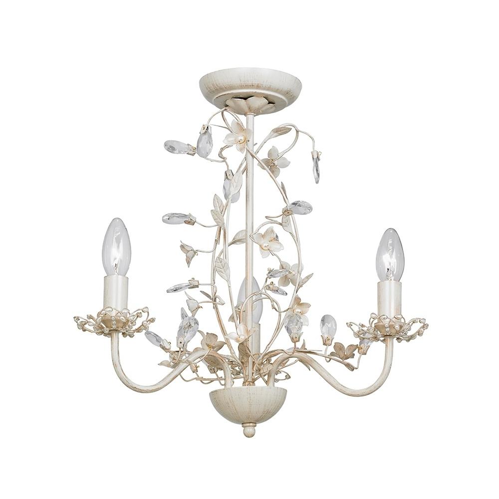 Preferred Cream Chandelier Lights Inside Endon Lullaby 3cr Lullaby Cream Gold 3 Light Flush Ceiling Light (View 12 of 20)