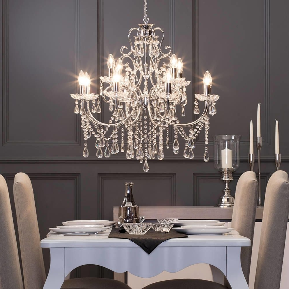 Preferred Cream Crystal Chandelier In Chandelier : An Elegant Crystal Chandelier Dining Room On The White (View 16 of 20)