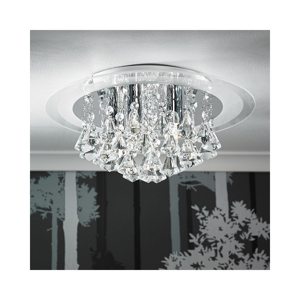 Preferred Endon Renner 6Ch 6 Light Semi Flush Chrome & Crystal Ceiling Light Pertaining To Flush Chandelier Ceiling Lights (View 18 of 20)