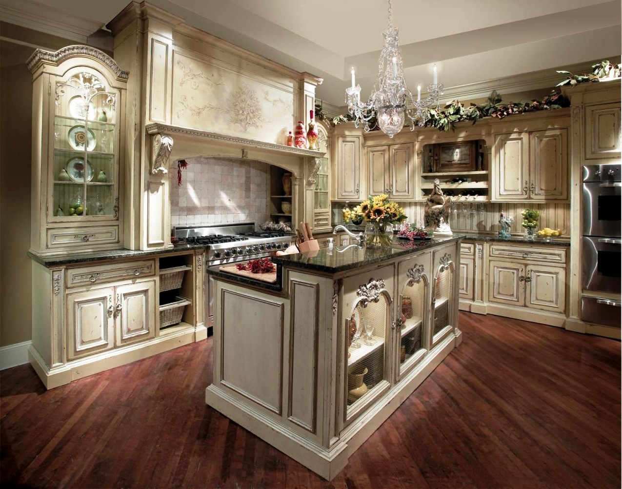 Preferred French Country Chandeliers For Kitchen With Regard To Traditional French Country Kitchen With High Quality Hardwood (View 14 of 20)