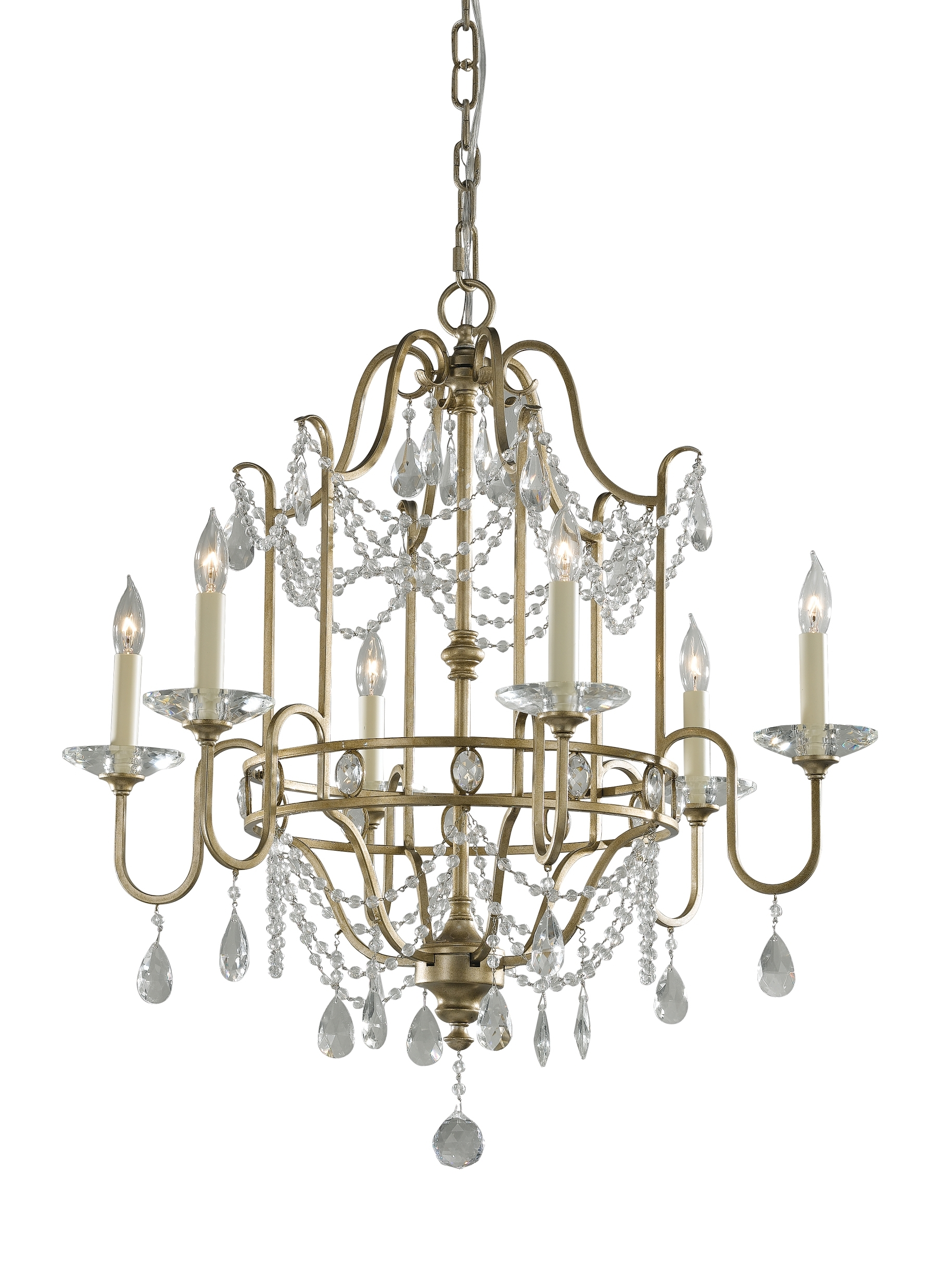 Preferred Gianna Mini Chandeliers Intended For F2475/6Gs,6 – Light Single Tier Chandelier,gilded Silver (View 11 of 20)