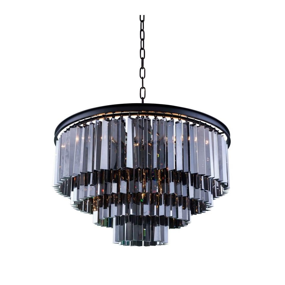 Preferred Grey Crystal Chandelier Inside Elegant Lighting 5 Light Silver Chandelier With Grey Crystal (View 12 of 20)