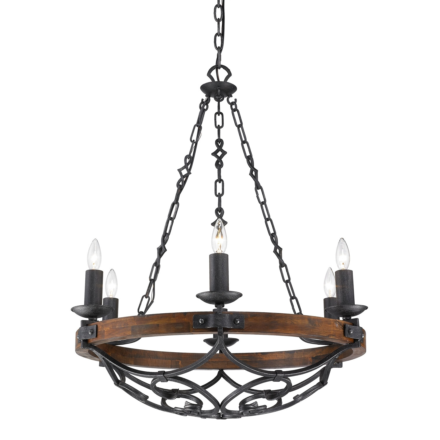 Preferred Iron Chandelier In Golden Lighting Madera Black Iron Six Light Chandelier On Sale (View 15 of 20)