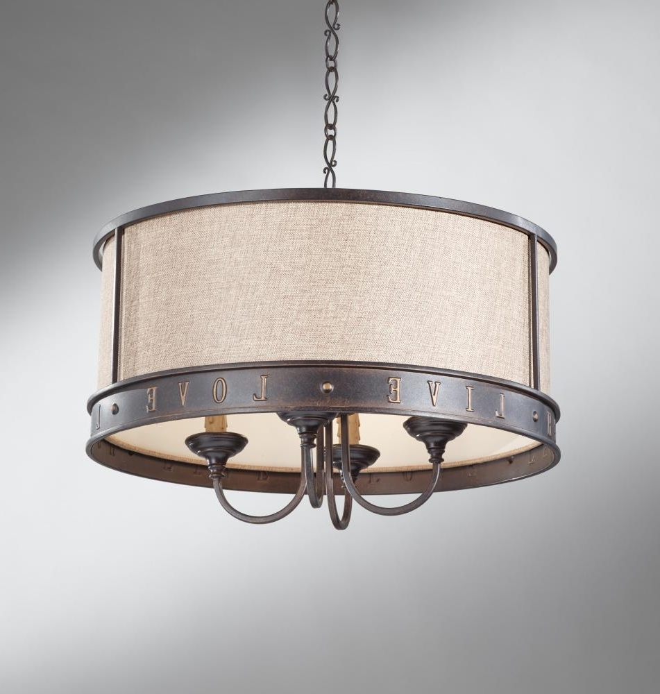 Preferred Lighting: Fabric Drum Shade Chandelier And Crystal Chandelier With Within Fabric Drum Shade Chandeliers (View 6 of 20)