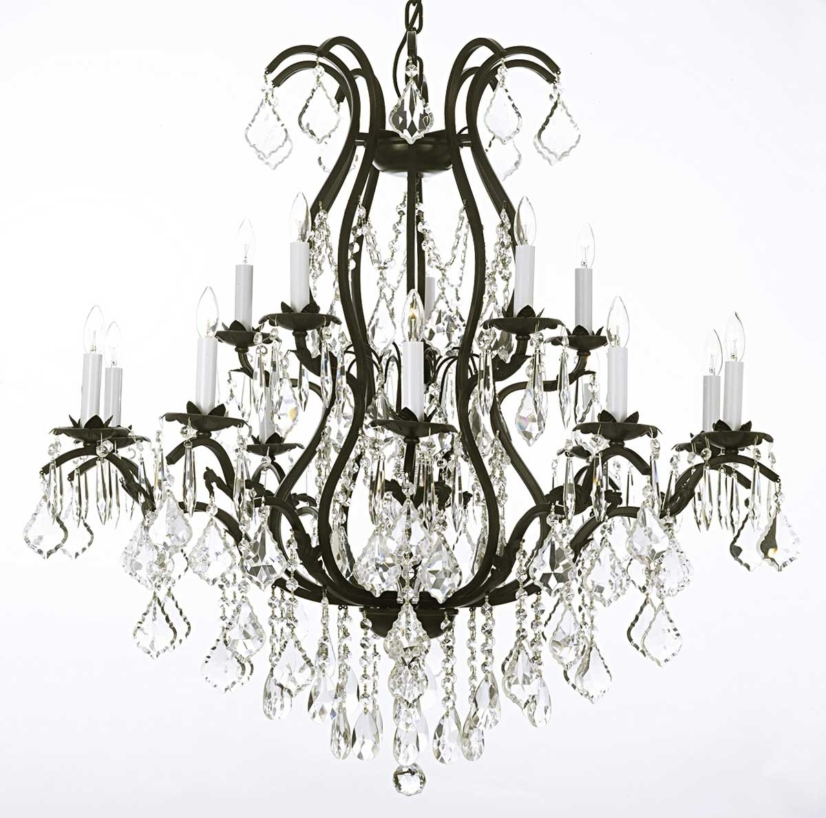 Preferred Modern Wrought Iron Chandeliers With Modern Black Wrought Iron And Crystal Chandeliers Plus Lamp Holder (View 12 of 20)
