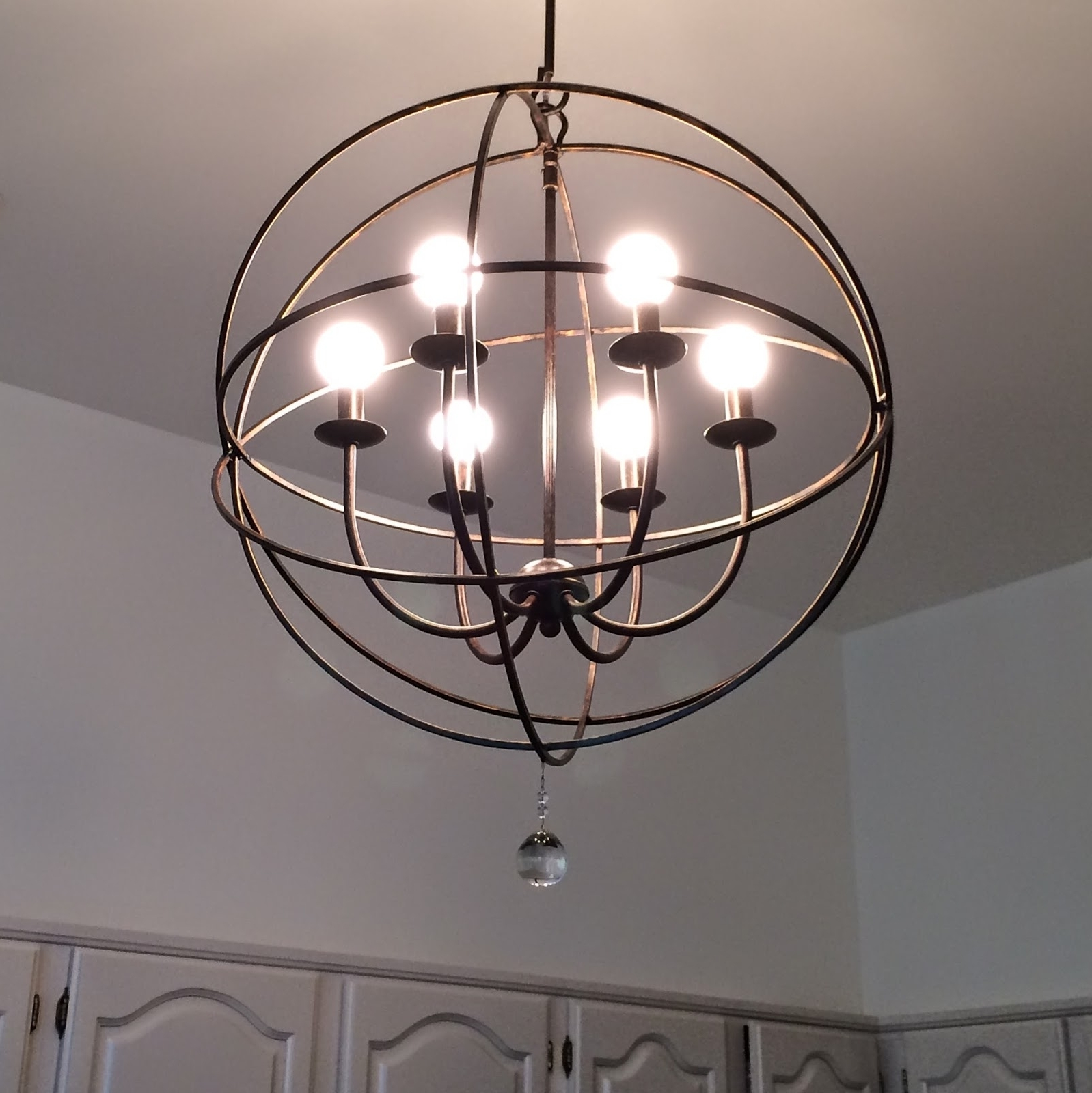Preferred Orb Chandelier With Regard To Lighting: Black Iron 6 Light Orb Chandelier For For Charming Kitchen (View 18 of 20)