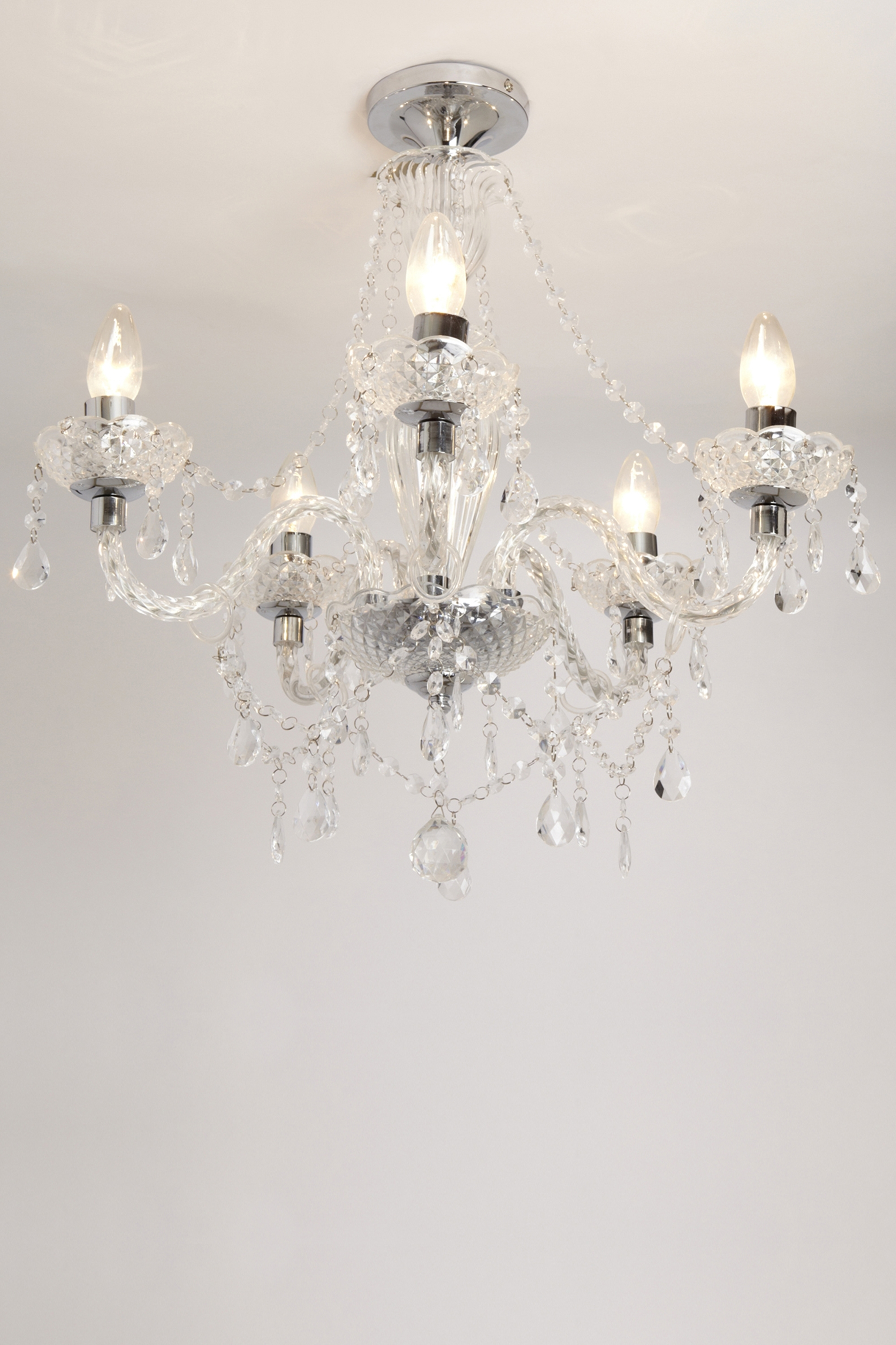 Preferred Sapparia 5 Light Flush Chandelier Bhs, £60 (was £120), Living Throughout Flush Fitting Chandelier (View 3 of 20)