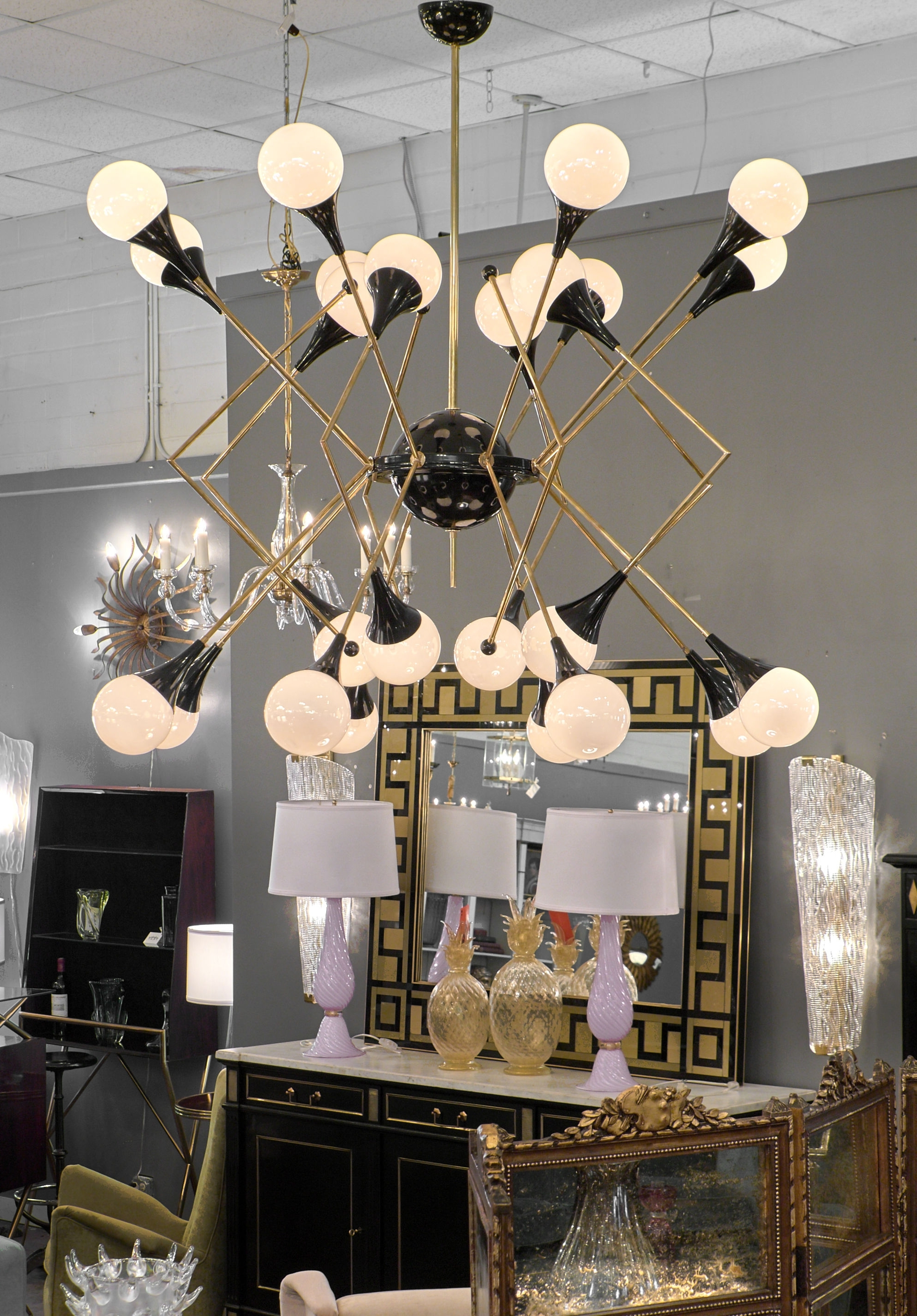 Preferred Stilnovo Style Murano Glass And Brass Chandelier – Jean Marc Fray Pertaining To Branched Chandelier (View 7 of 20)