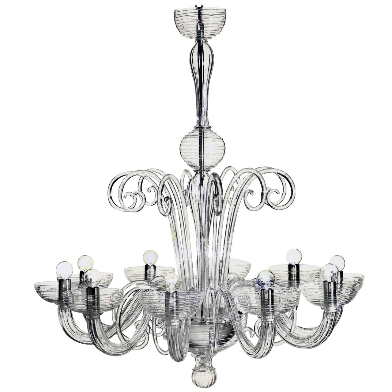 Preferred Two Italian Mid Century Style Clear Murano / Venetian Glass Ten Arm For Italian Chandeliers Style (View 9 of 20)
