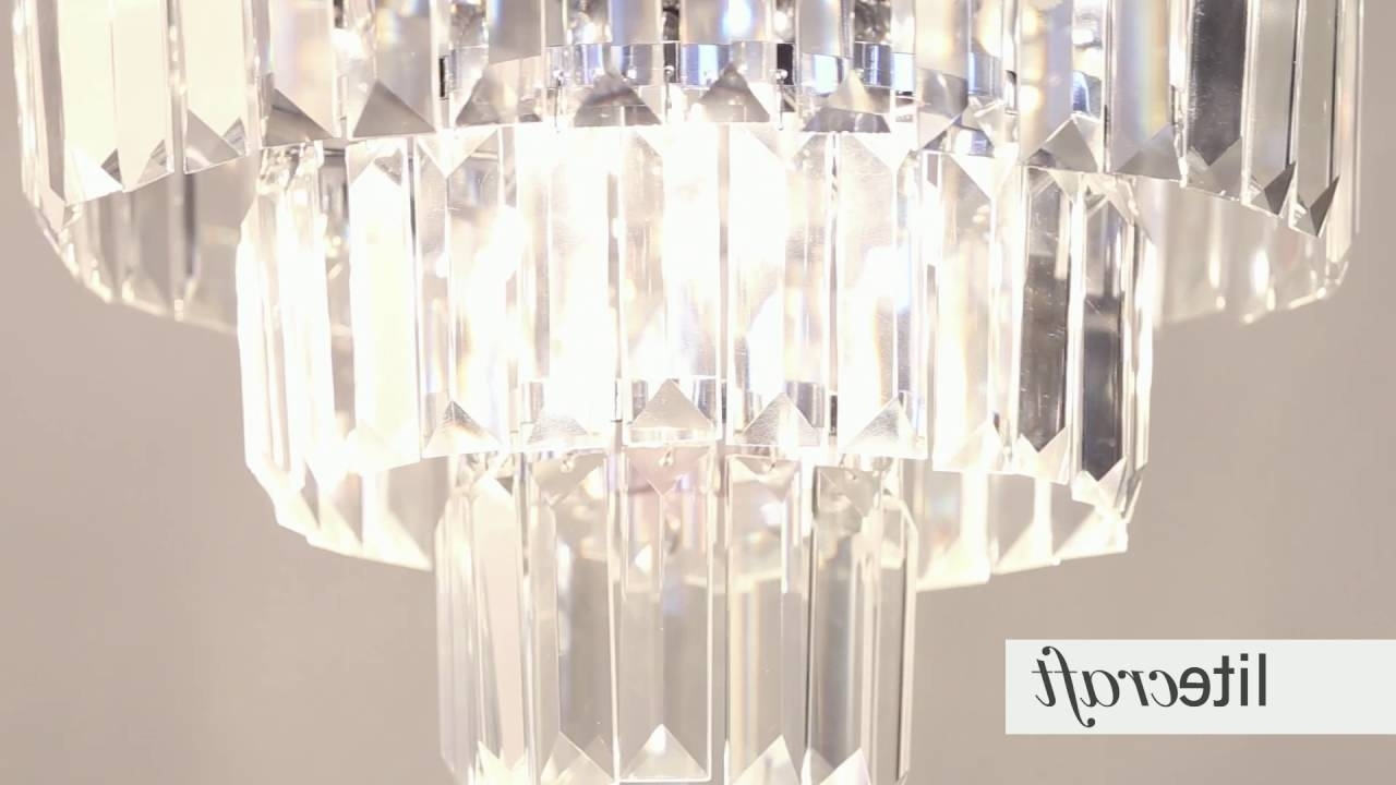 Prism 3 Tier Crystal Flush Ceiling Light – Chrome And Glass Within Trendy 3 Tier Crystal Chandelier (View 7 of 20)