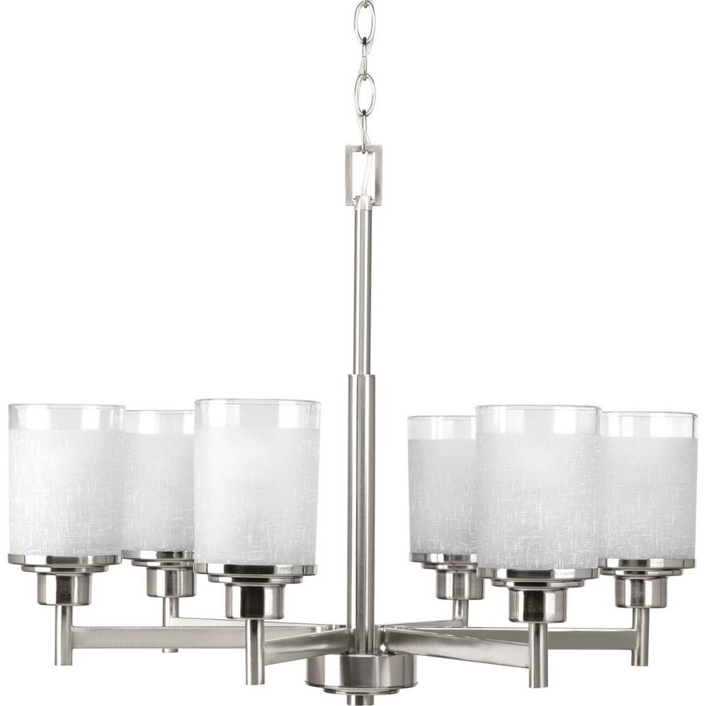 Progress Lighting Alexa Collection 6 Light Brushed Nickel Chandelier Within Famous Linen Chandeliers (View 13 of 20)