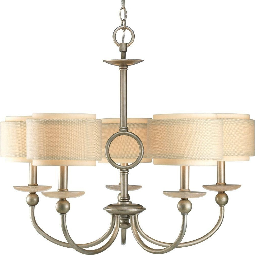 Progress Lighting Flourish Collection 5 Light Cognac Chandelier With With Regard To Fashionable Linen Chandeliers (View 14 of 20)