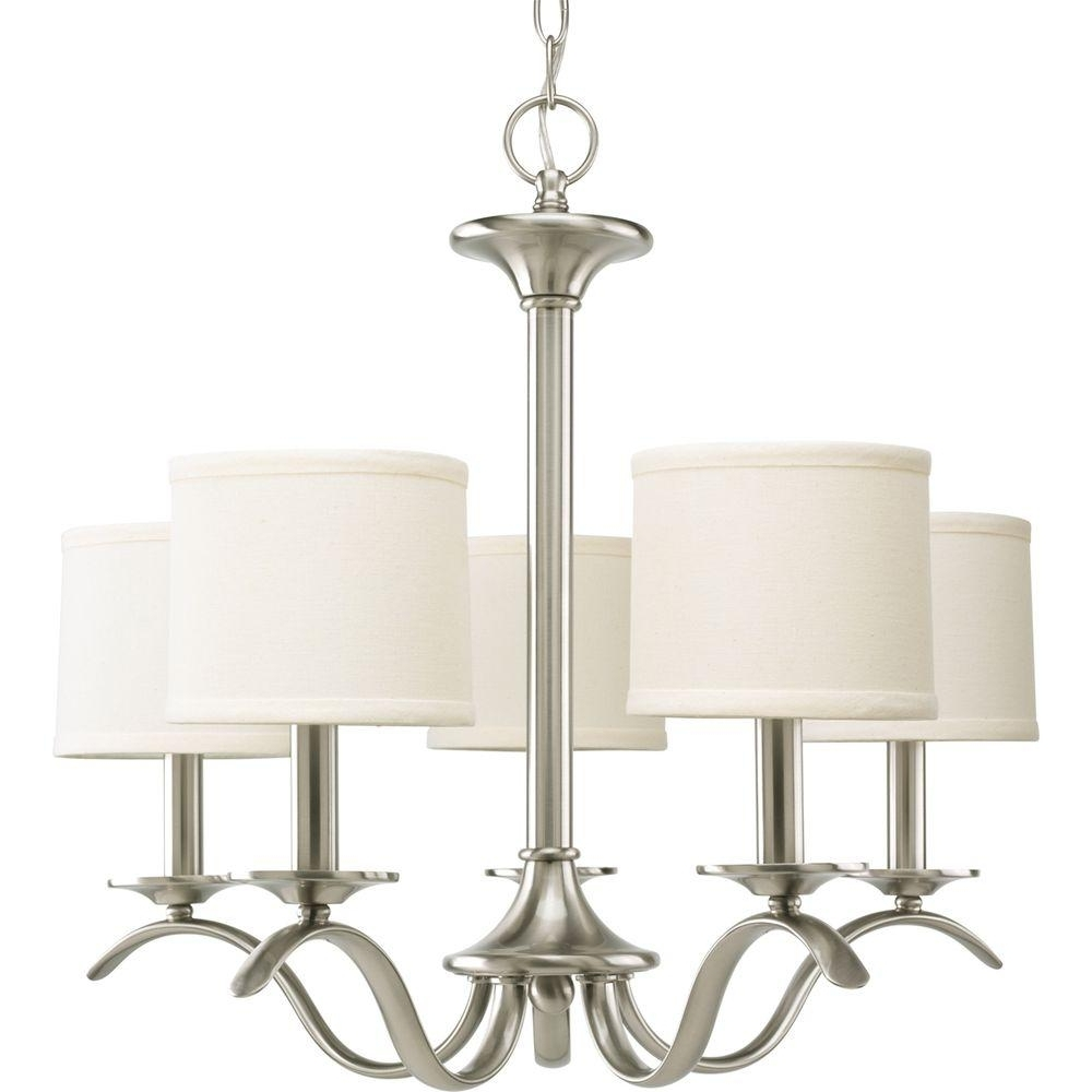 Progress Lighting Inspire Collection 5 Light Brushed Nickel In Latest Linen Chandeliers (View 11 of 20)