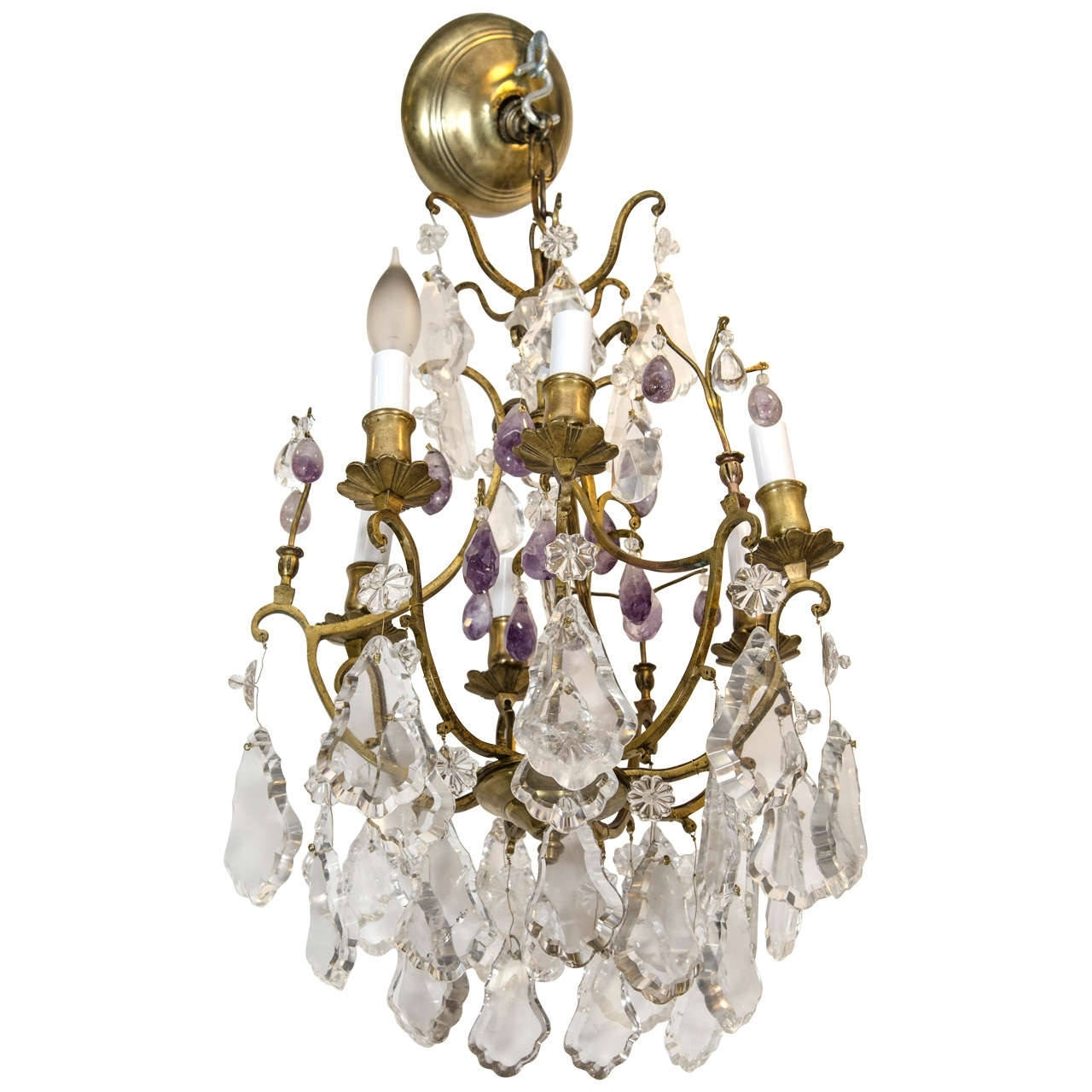 Purple Crystal Chandelier Lighting In Latest Gilded Bronze And Rock Crystal Chandelier With Purple Amethyst After (View 13 of 20)
