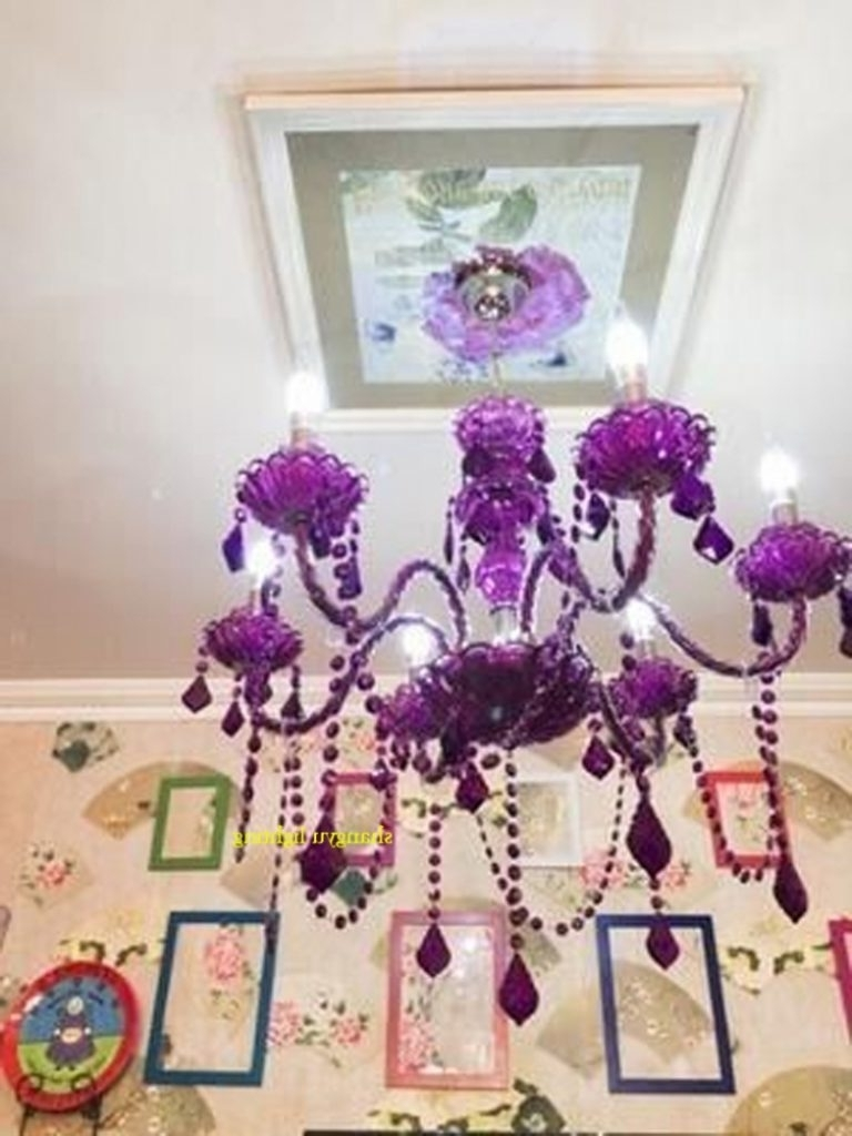 Purple Crystal Chandelier Lights Inside 2018 Chandelier ~ 25 Inspirations Purple Crystal Chandelier Lights (View 13 of 20)