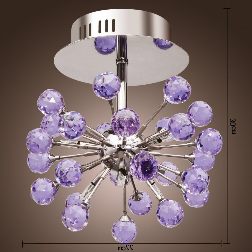 Purple Crystal Chandelier Lights Pertaining To Most Recently Released Chandelier ~ Chandelier : Exquisite Purple Chandelier Chandelier (View 15 of 20)