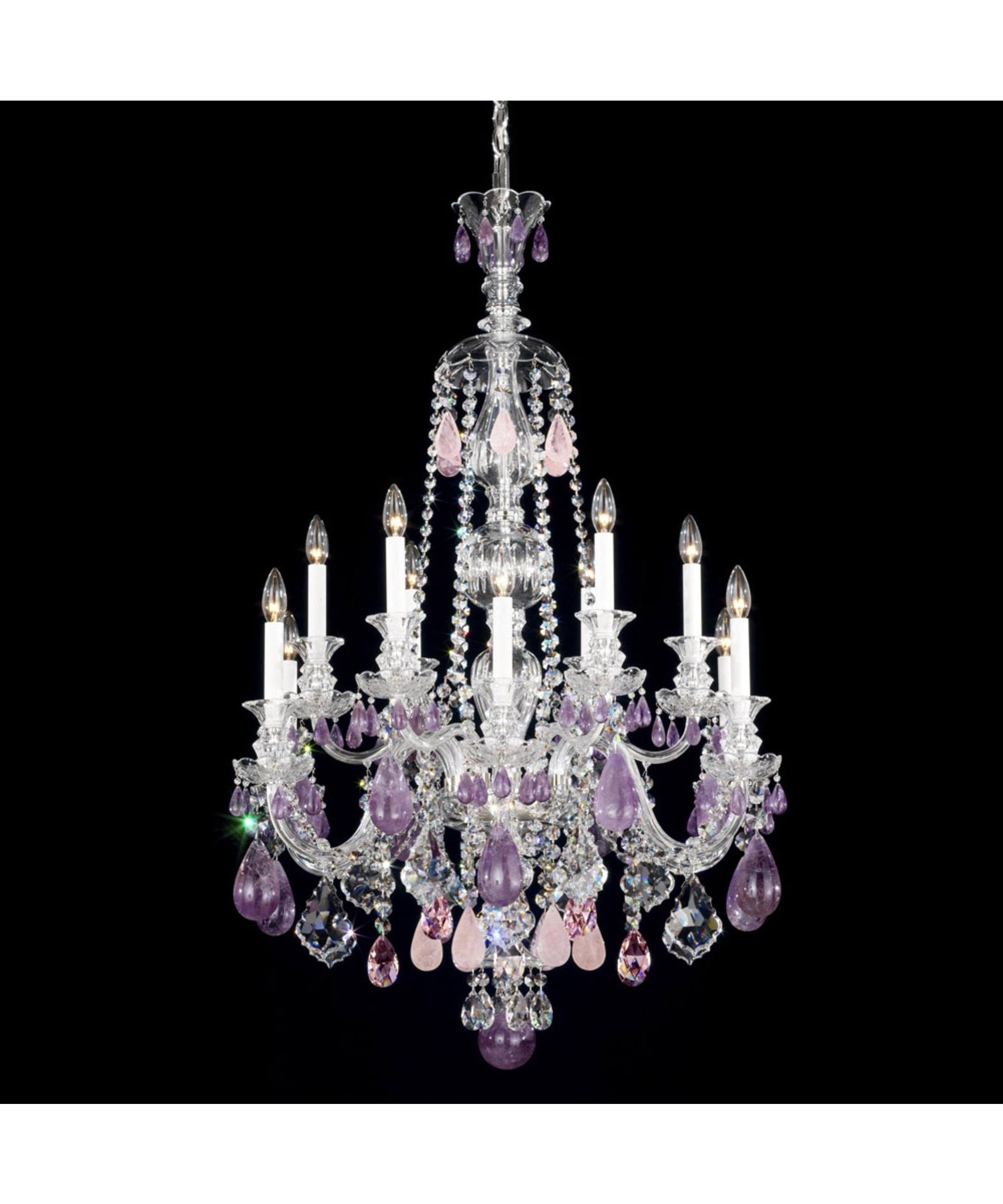 Purple Crystal Chandelier Lights With 2018 Schonbek 5508 Hamilton Rock Crystal 30 Inch Wide 12 Light Chandelier (View 17 of 20)