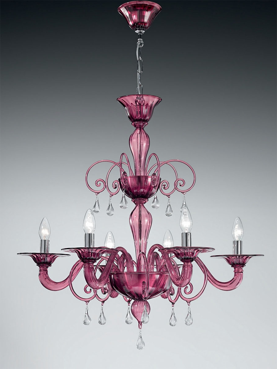 Purple Murano Glass Chandelier Mll1185K6 With Clear Glass Drops Throughout Trendy Purple Crystal Chandeliers (View 18 of 20)