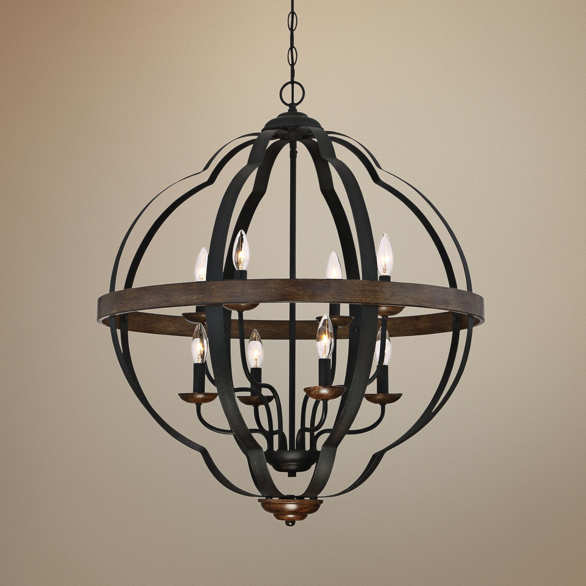 "Quoizel Siren 28""w 8 Light Black Metal Cage Foyer Chandelier (Gallery 20 of 20)"