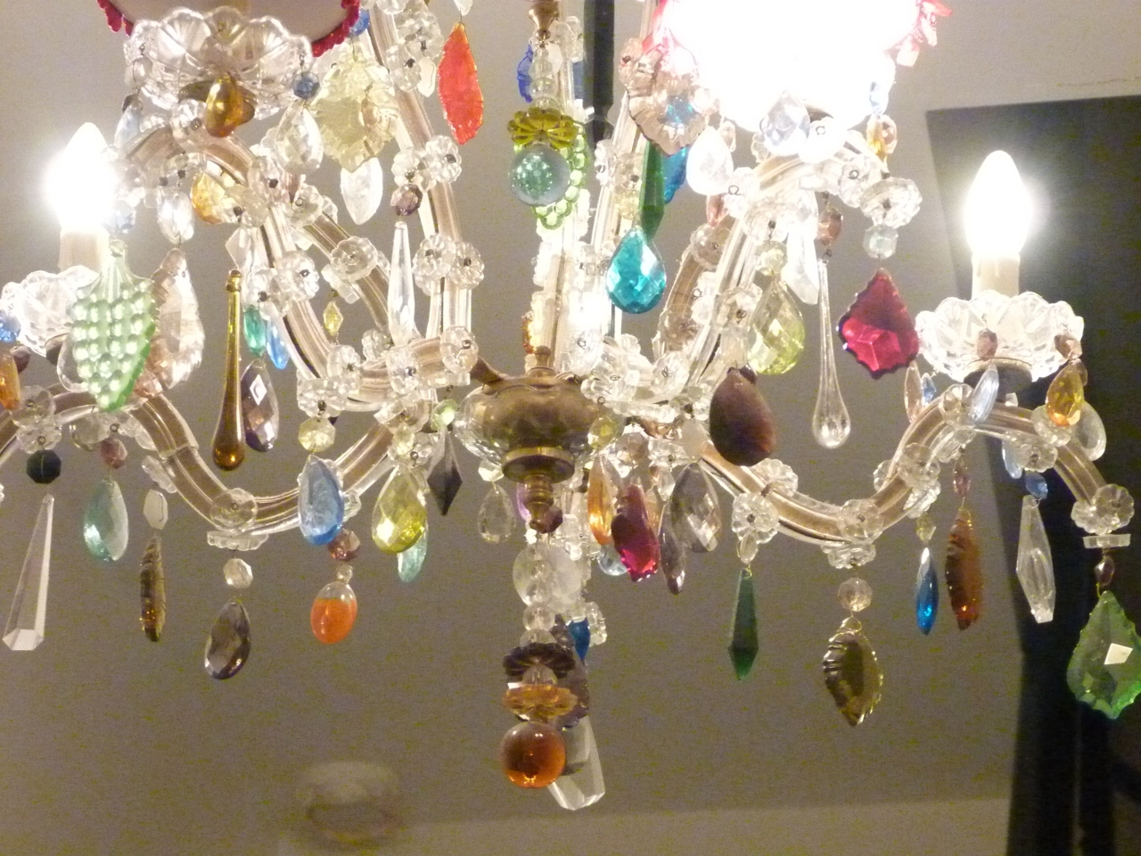 Recent 5 Arm Glass Marie Therese With Multi Coloured Drops – The Vintage With Coloured Glass Chandelier (View 2 of 20)