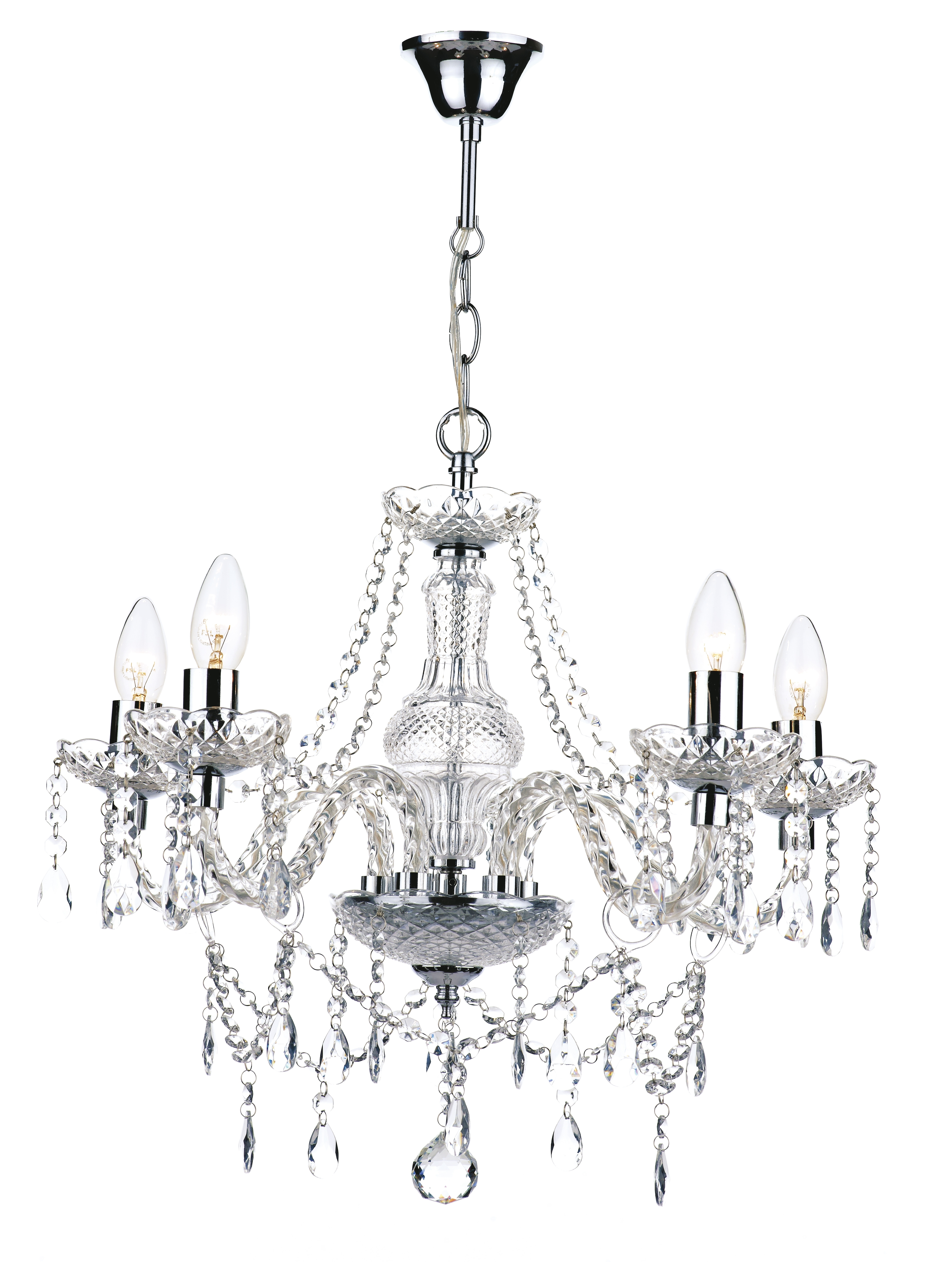 Recent Acrylic Chandelier Lighting Pertaining To 5 Light Polished Chrome Crystal Chandelier £ (View 16 of 20)