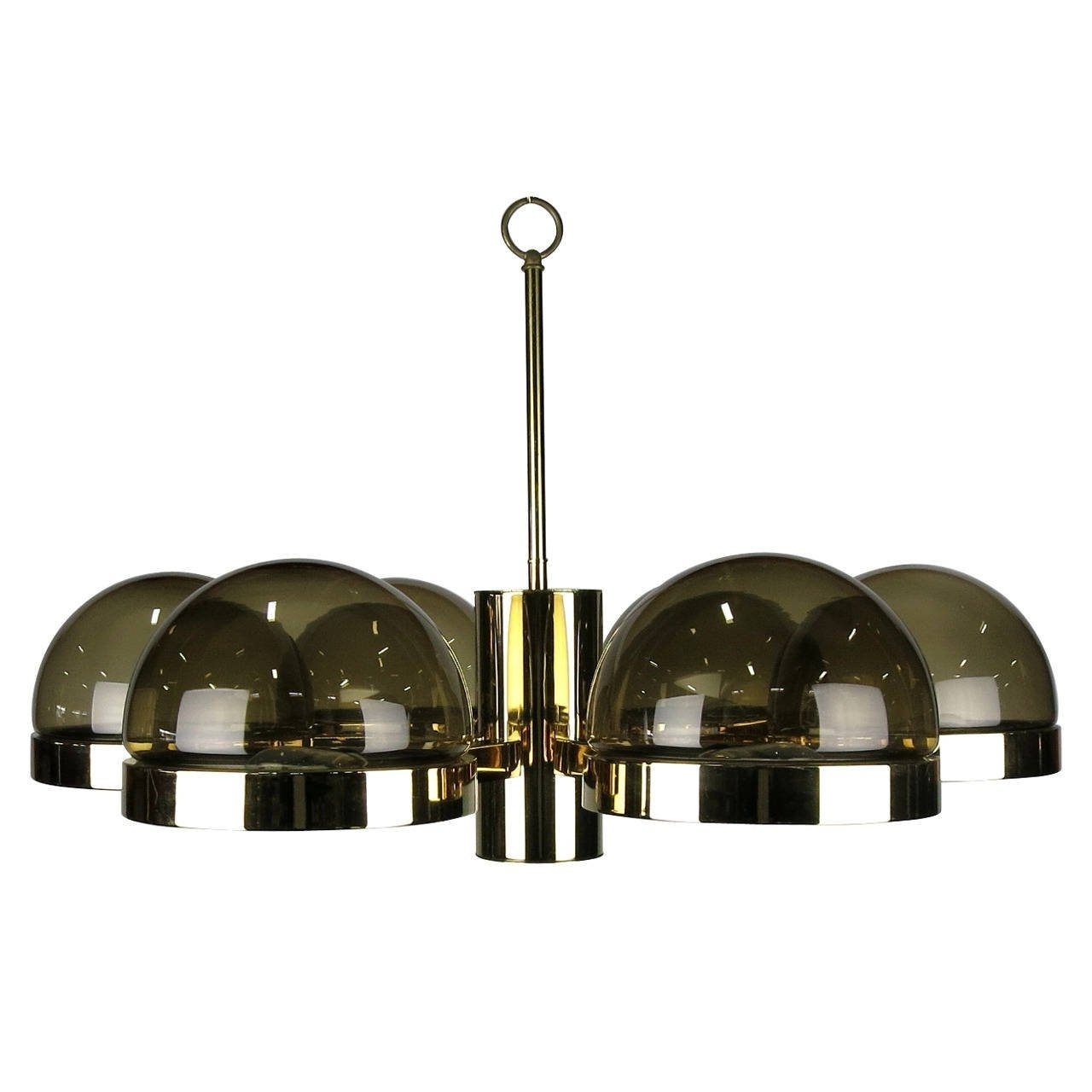 Recent Brass And Glass Chandelier With Regard To Large 1970S Mod Brass And Smoked Glass Chandelier For Sale At 1Stdibs (View 17 of 20)
