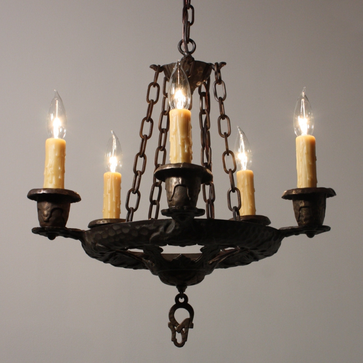Recent Cast Iron Antique Chandelier With Handsome Antique Five Light Tudor Chandelier, Cast Iron, Nc1650 Rw (View 18 of 20)