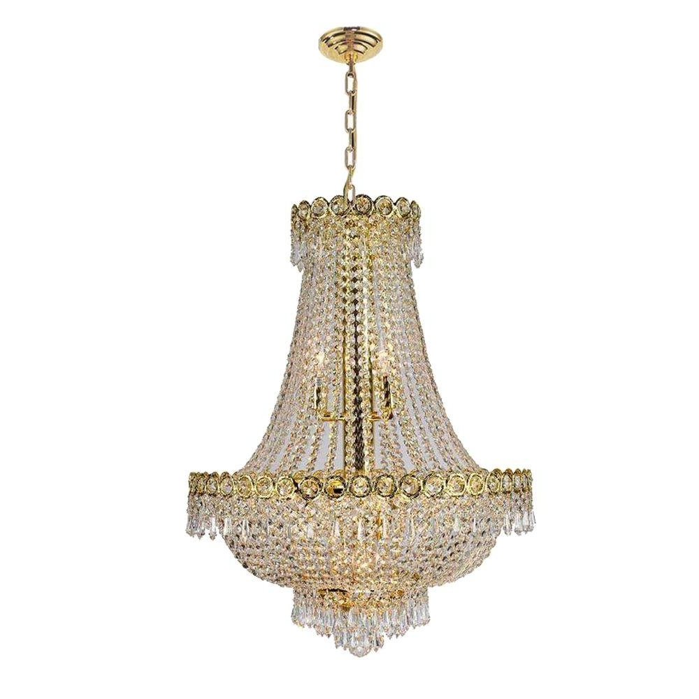 Recent Crystal Gold Chandeliers Within Worldwide Lighting Empire Collection 12 Light Polished Gold And (View 13 of 20)