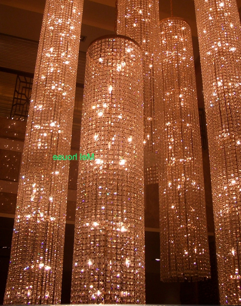 Recent Long Chandelier Light Pertaining To Large Long Crystal Chandelier Light Lampada Led Fixtures Hotel (View 17 of 20)