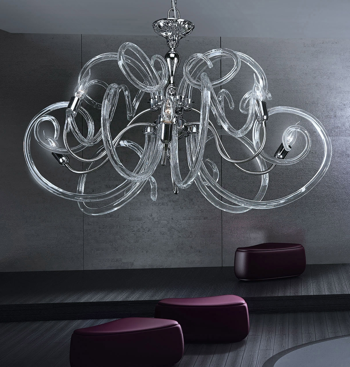 Recent Modern Contemporary Chandelier Murano Chandelier Bal1806x6 – Murano With Regard To Modern Glass Chandeliers (View 11 of 20)