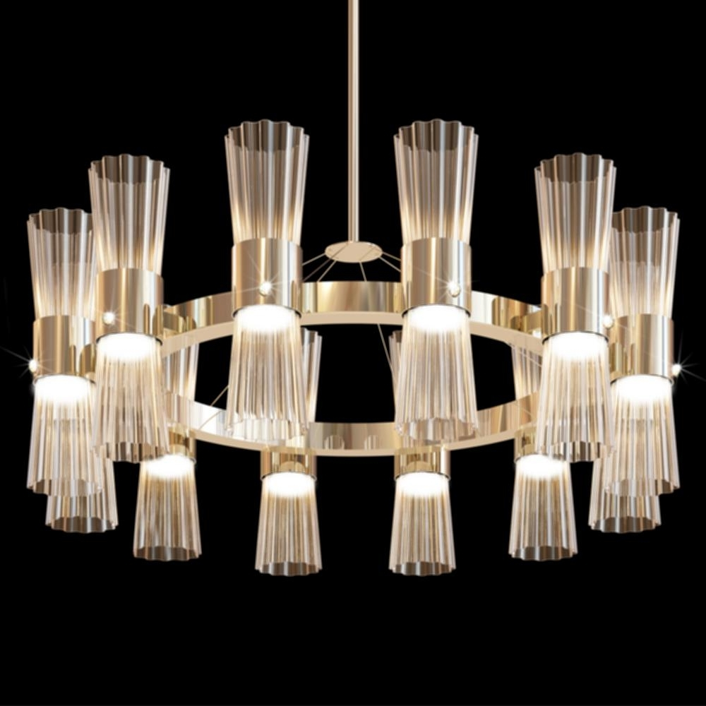 Recent Simple Glass Chandelier Throughout Gold Leaf Chandelier Light Modern Gold Leaf Murano Glass Chandelier (View 10 of 20)