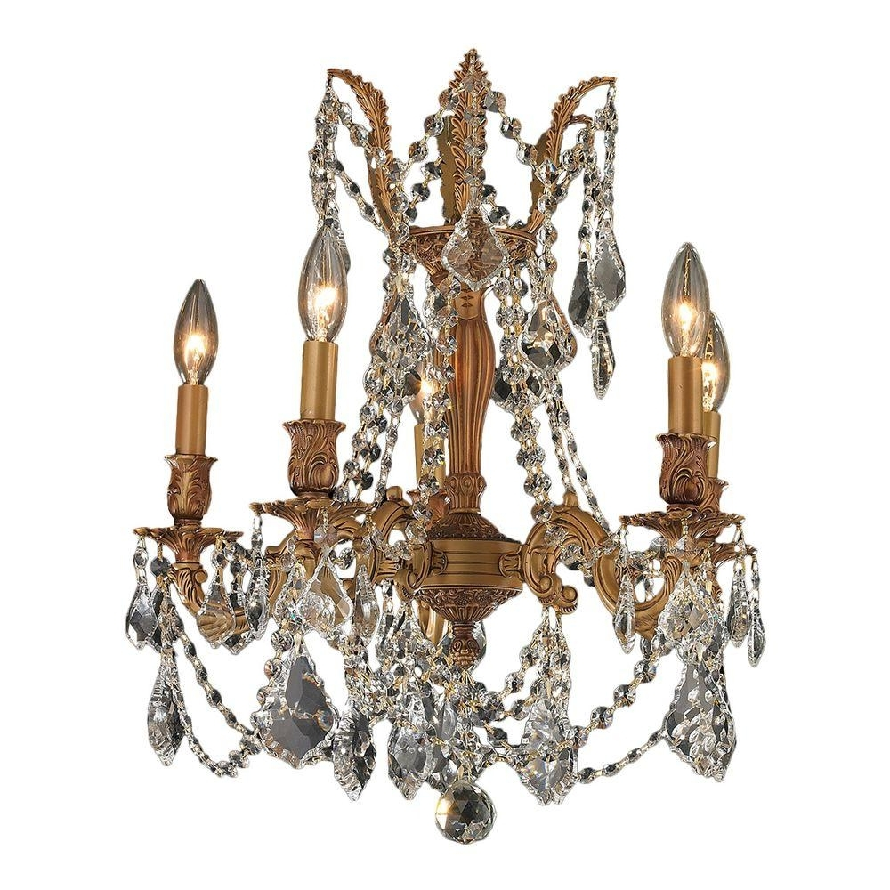 Recent Worldwide Lighting Windsor Collection 5 Light French Gold And Clear Throughout Crystal Gold Chandeliers (View 14 of 20)