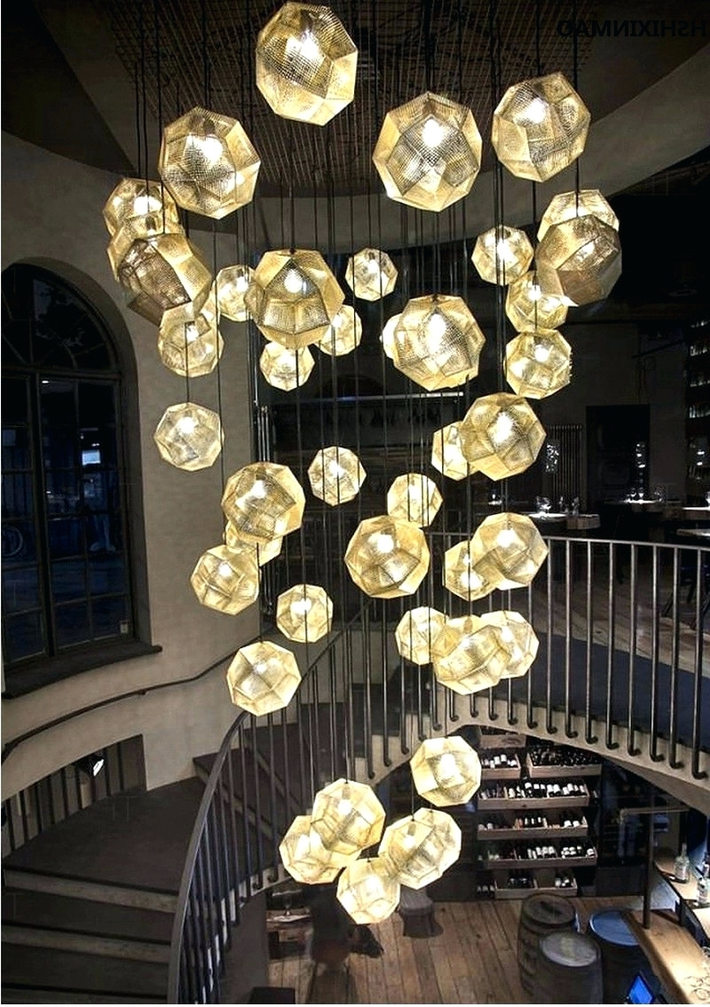 Restaurant Chandeliers With Well Known Light : Creative Light And Shadow Multi Faceted Stainless Steel Ball (View 18 of 20)