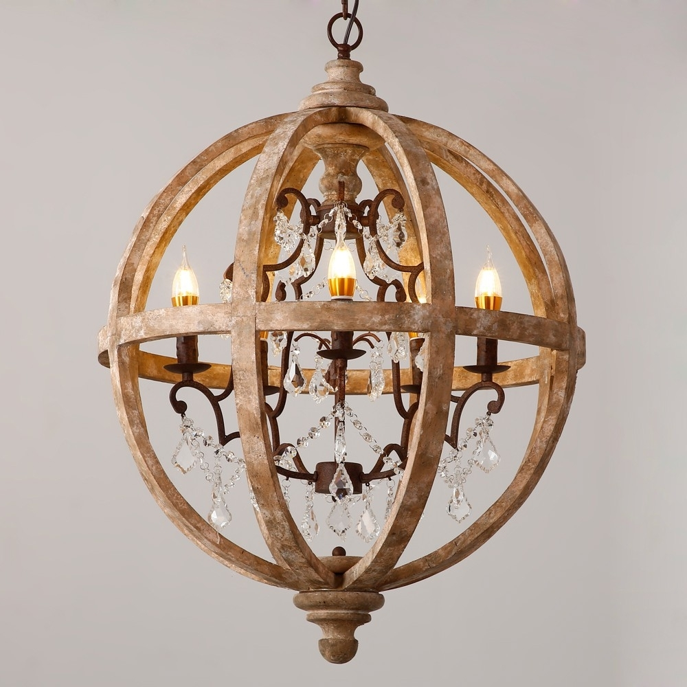 Retro Rustic Weathered Wooden Globe Caged Rust Metal Scroll Crystal Regarding 2018 Caged Chandelier (View 19 of 20)