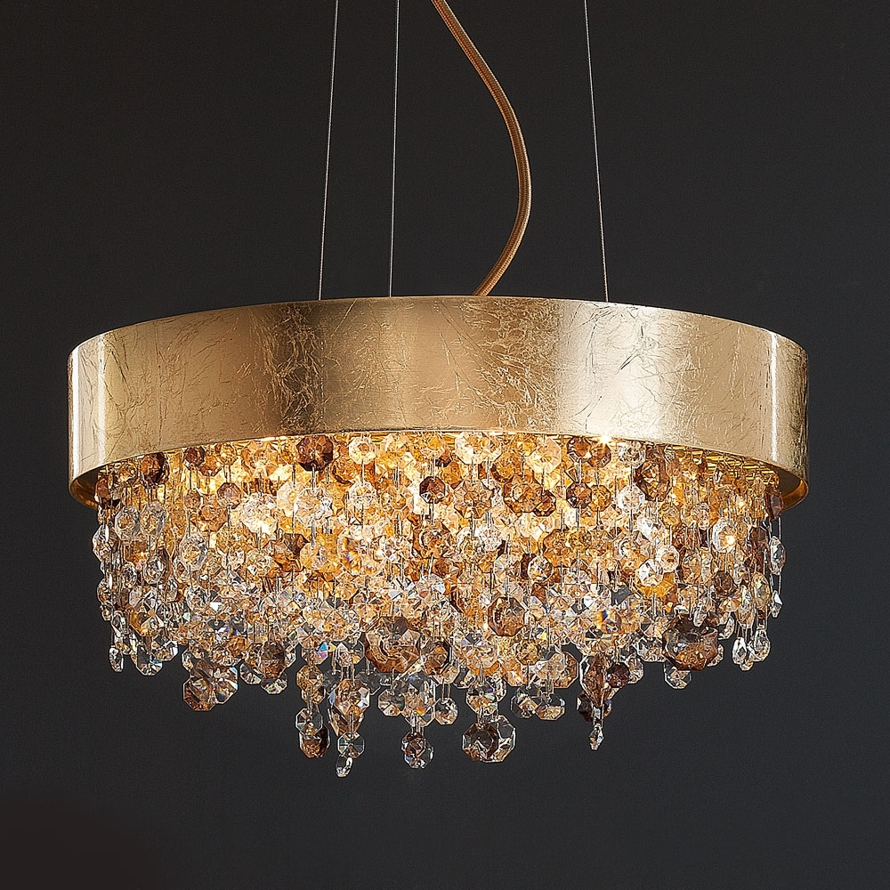 Round Gold Leaf Contemporary Chandelier (View 15 of 20)