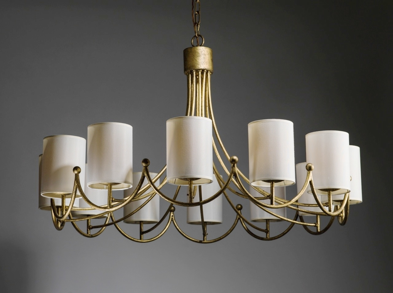 Royere Inspired Wrought Iron 12 Light Chandelier In Distressed Gold In Recent Cream Gold Chandelier (View 9 of 20)
