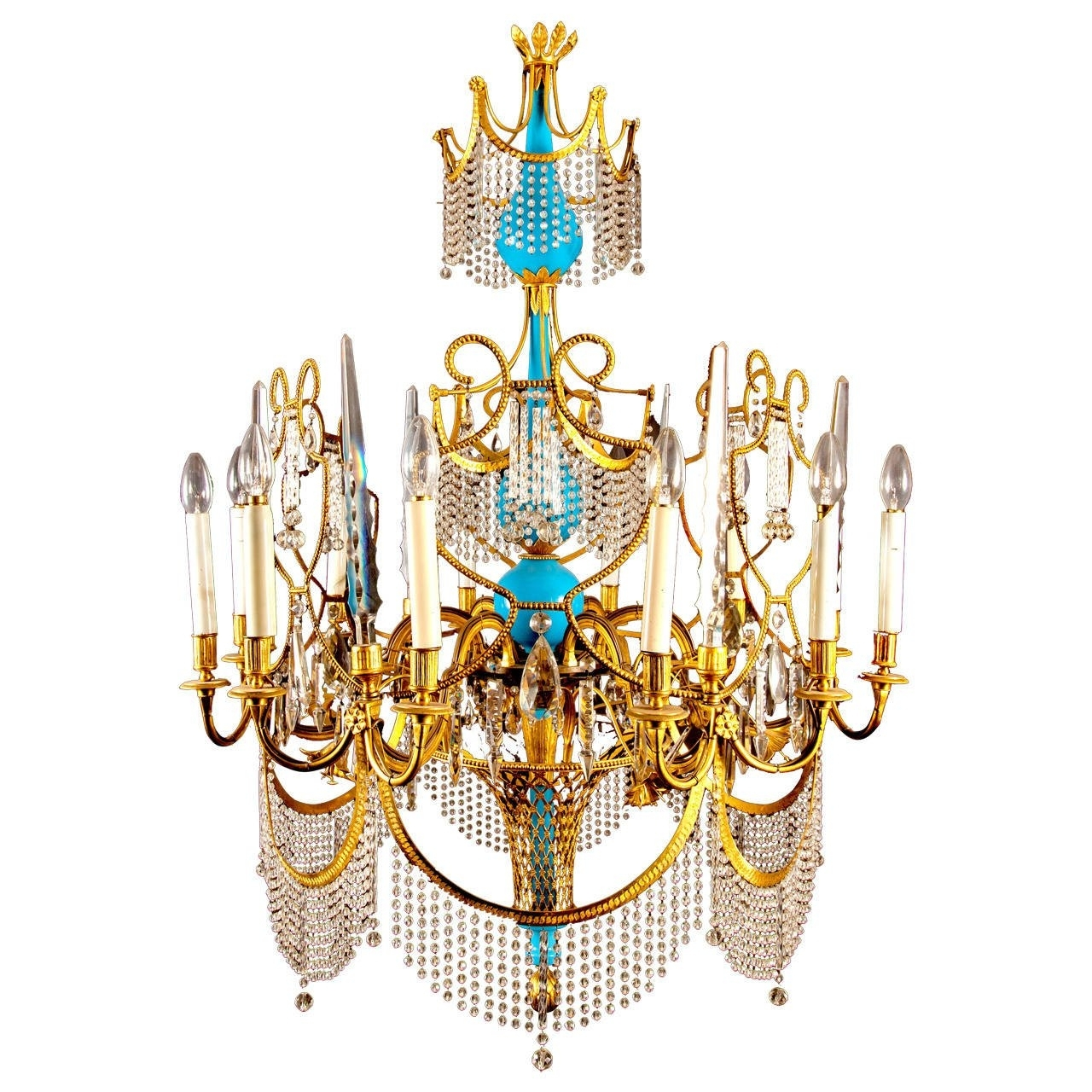 Russian Ormolu, Cut Glass And Blue Porcelain Empire Style Antique Within Most Current Glass Droplet Chandelier (View 16 of 20)