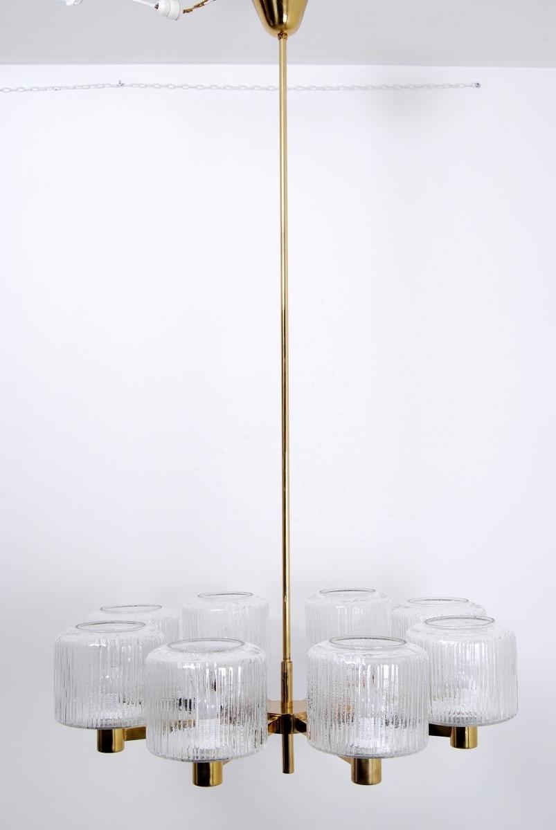 Scandinavian Chandeliers Regarding Well Known Vintage Large Scandinavian Chandelier In Brass For Sale At Pamono (View 12 of 20)