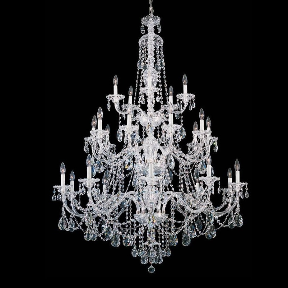Schonbek 3610 Sterling Crystal 25 Light Up Lighting 3 Tier Pertaining To Fashionable 3 Tier Crystal Chandelier (View 9 of 20)