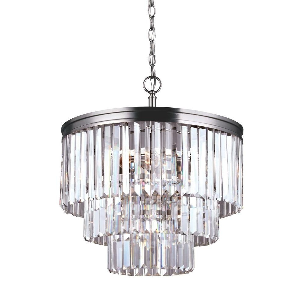 Sea Gull Lighting Carondelet 4 Light Antique Brushed Nickel Multi Within Well Liked 4 Light Crystal Chandeliers (View 14 of 20)