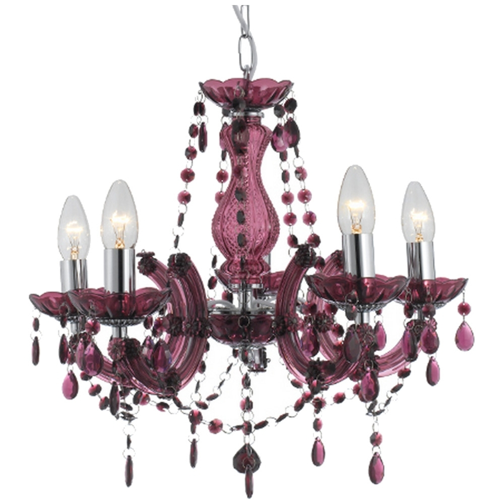 Searchlight Marie Therese Five Light Chandeliers – Various Colours For Well Liked Purple Crystal Chandeliers (View 20 of 20)