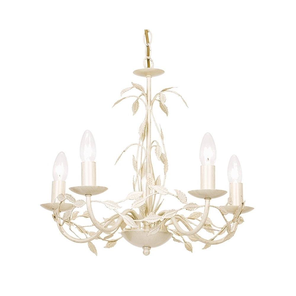 Serenade 5Cr Elegant 5 Light Chandelier In Cream Gold – Lighting Intended For Most Recent Cream Chandelier (View 15 of 20)