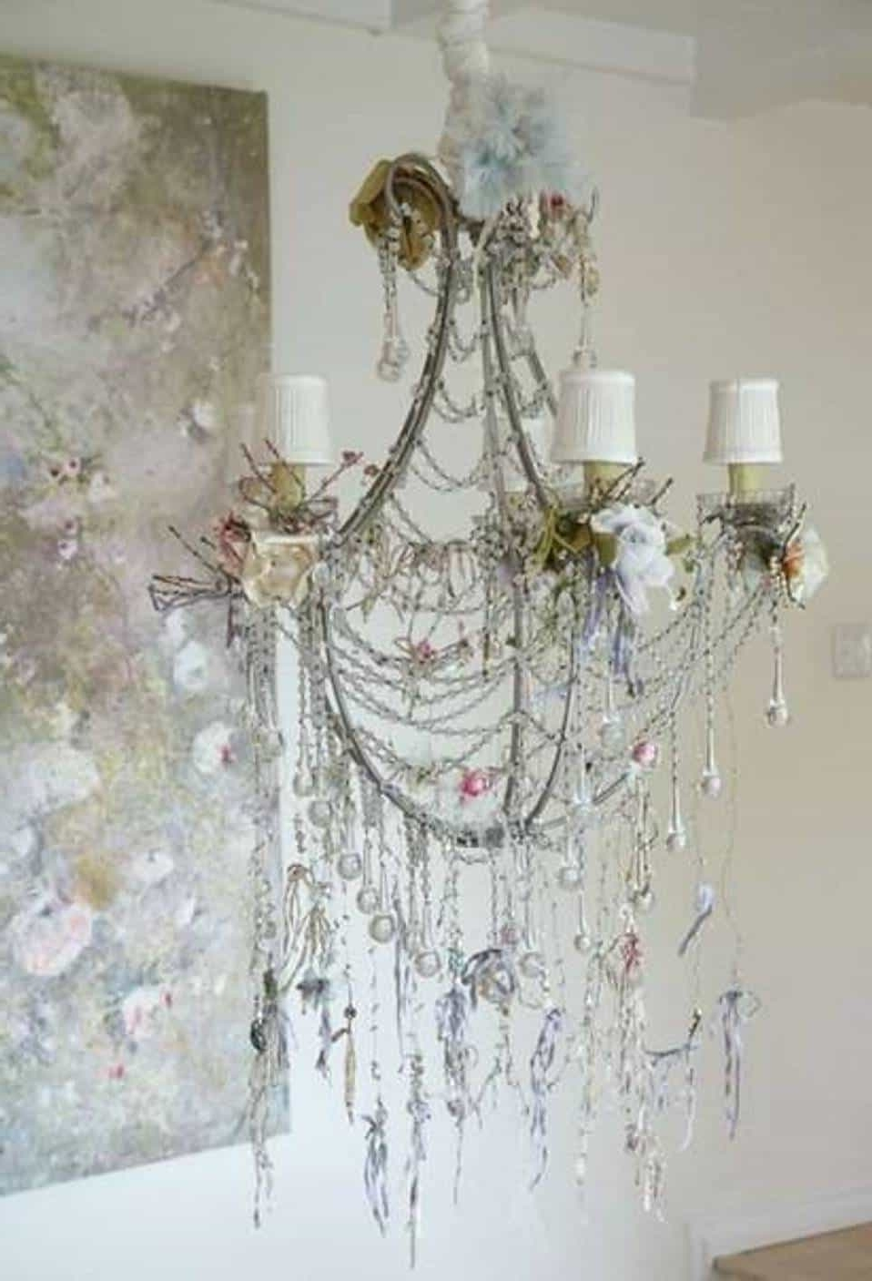 Shabby Chic Chandeliers Inside Trendy Feathered Dangle Shabby Chic Chandelier : Lovely Shabby Chic (View 18 of 20)